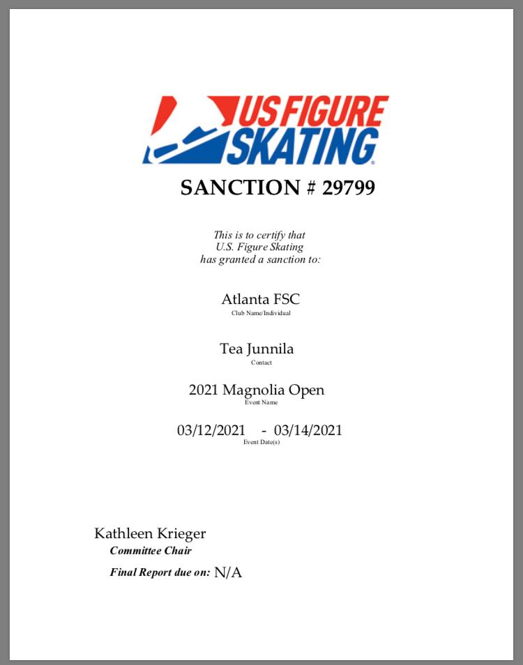Magnolia 2021 Sanction